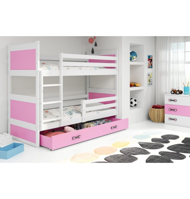 Stapelbed Rico wit/roze