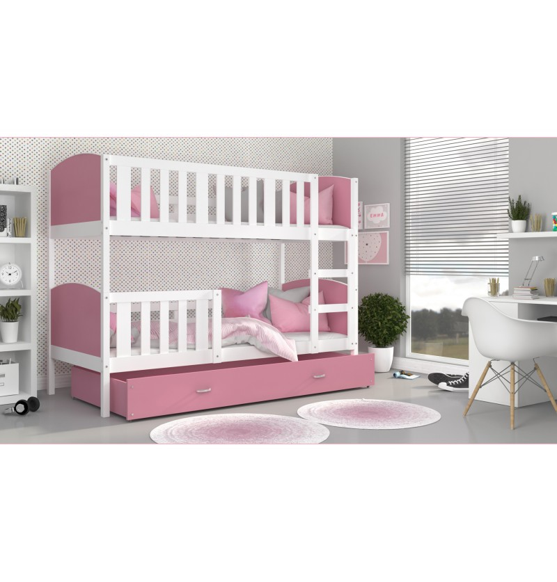 Stapelbed Tami wit/roze
